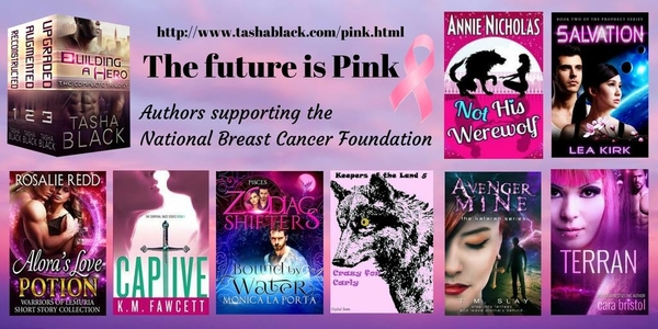 The future is pink. Authors supporting the National Breast Cancer Foundation.